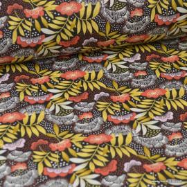 Tissu coton imprimé fleurs japonaises Terracotta - Nagoya