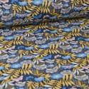 Tissu coton imprimé fleurs japonaises Celeste Bleu - Nagoya