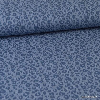 Tissu maille fine Bleu motifs Léopard