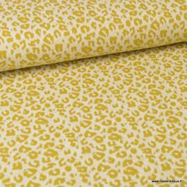 Tissu maille fine Moutarde motifs Léopard