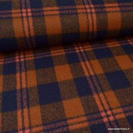 Tissu Lainage à carreaux Rouille et bleu marine