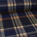 Tissu Lainage à carreaux bleu marine et Camel .x1m