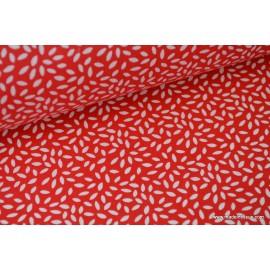 Tissu coton imprimé dessin grains de blé rouge .x1m