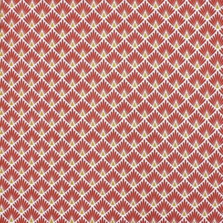 Tissu coton imprimé écailles - Tomette - Oeko tex