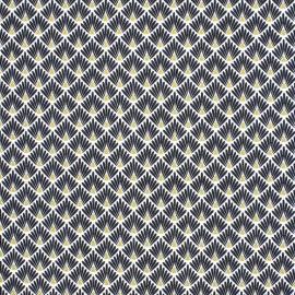 Tissu coton imprimé écailles - Noir - Oeko tex