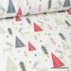 Tissu coton imprimé sapins et cerfs fond blanc - Borenne -  Oeko tex