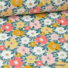 Tissu Cretonne coton imprimé fleurs Camille MENTHE