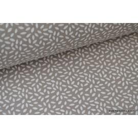 Tissu coton imprimé dessin grains de blé taupe .x1m