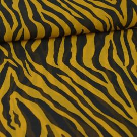 Tissu Voile motifs zébrés ocre et noir