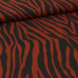 Tissu Voile motifs zébrés Terracotta et noir