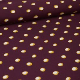 Tissu Viscose Twill motif Pois jaunes fond bordeaux