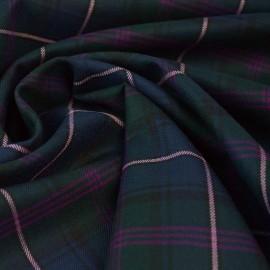 Tissu gabardine type Tartan stretch à carreaux tissé teint - Bleu marine, vert et rose