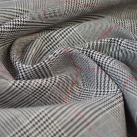 Tissu Prince de Galle gris, Noir et rouge