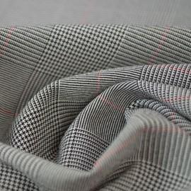 Tissu Tailleur Prince de Galle gris, Noir et rouge