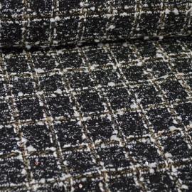 Tissu Tweed Noir et écru