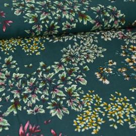Tissu Viscose motif fleurs fond vert