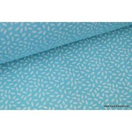 Tissu coton imprimé dessin grains de blé turquoise .x1m
