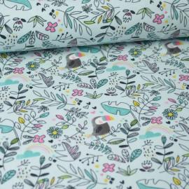 coupon jersey Oeko tex motifs toucans et fleurs