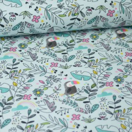 Tissu jersey Oeko tex motifs toucans et fleurs