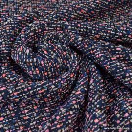 Tissu Tweed marine et rose