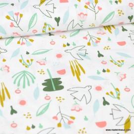Tissu Poppy popeline motifs Fleures et oiseaux fond blanc - oeko tex