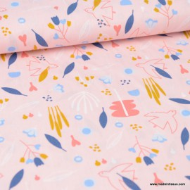 Tissu Poppy popeline motifs Fleurs et oiseaux fond Rose - oeko tex