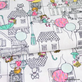 Tissu Poppy popeline motifs Maisons fillettes, et ballons fond Blanc- oeko tex