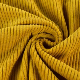 Tissu Velours côtelé grosses côtes moutarde .x1m