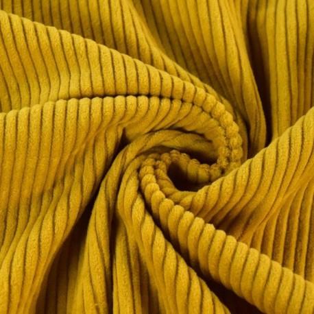 Velours côtelé grosses côtes moutarde