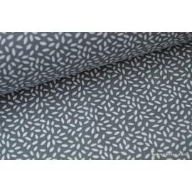 Tissu coton imprimé dessin grains de blé anthracite .x1m