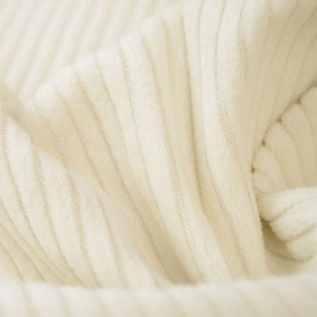 Tissu Velours cotelé grosses côtes Ivoire