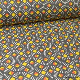 Tissu coton Oeko tex imprimé graphique Wax Rouge, jaune et anthracite .x1m