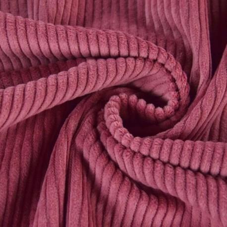 Tissu Velours cotelé grosses côtes Vieux Rose .x1m