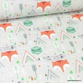 Tissu coton imprimé renard Gris