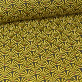 Tissu cretonne coton imprimée Ecailles Jaune et anthracite .x1m