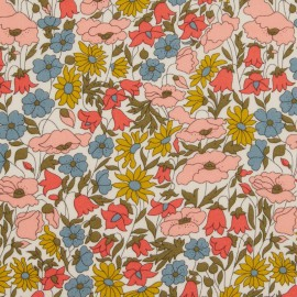 Tissu Liberty Poppy and Daisy rose et moutarde