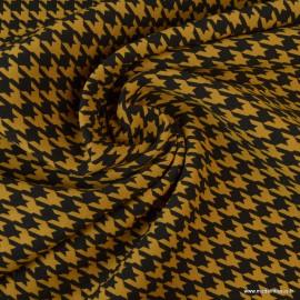 Tissu Bengaline motifs pied de poule Ocre et Noir