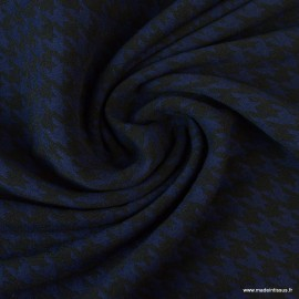 Tissu Bengaline motifs pied de poule Marine