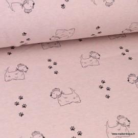 Tissu Sweat envers Minky motifs Chiens fond Rose