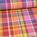 Tissu MADRAS coton Jaune, violet et rose