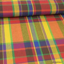 Tissu MADRAS coton jaune, orange et Bleu