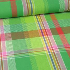 Tissu MADRAS coton vert, rouge et jaune