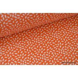 Tissu coton imprimé dessin grains de blé orange .x1m