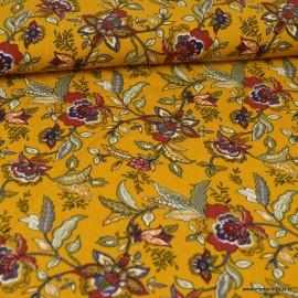 Tissu Viscose motif fleurs fond Ocre