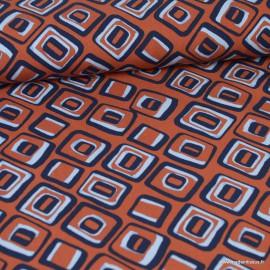 Tissu Viscose motifs Losange Vintage Terracotta