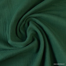 Tissu Double gaze coton vert bouteille .x1m