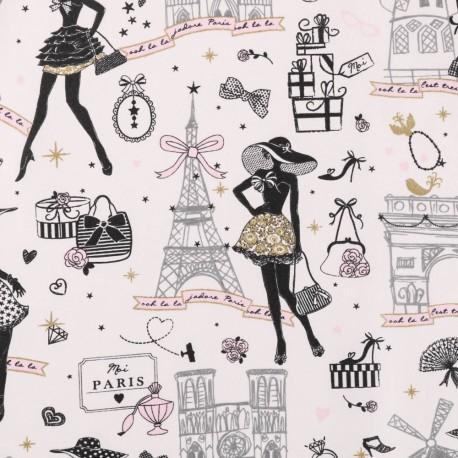 Tissu coton Enduit Oeko tex MOI PARIS noir, doré et Rose