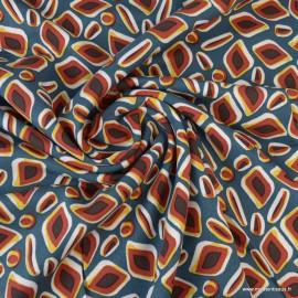 Tissu Viscose Twill motif losanges graphique Pétrole et rouge