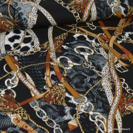 Tissu twill Viscose motifs Sangles fond Noir