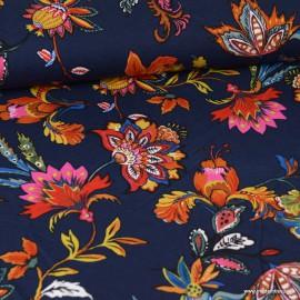 Tissu Viscose Twill motif fleurs fond Bleu